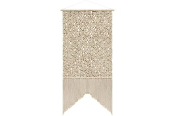 Wall Tapestry-Macrame Beaded Fringe Cream 29X60