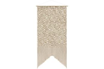 Wall Tapestry-Macrame Beaded Fringe Cream 29X60