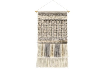 Wall Tapestry-Basketweave Khaki Grey 19X32