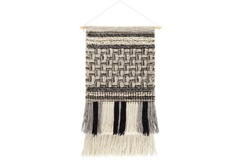 Wall Tapestry-Basketweave Black Grey 19X32