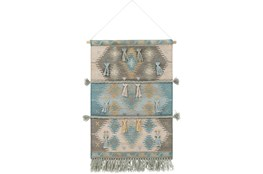 Wall Tapestry-Woven Blue Grey 24X36