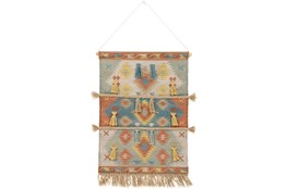 Wall Tapestry-Woven Fringe Multicolor 24X36