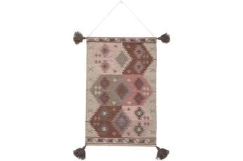 Wall Tapestry-Tassels Eggplant Beige 24X36
