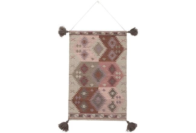 Wall Tapestry-Tassels Eggplant Beige 24X36 - 360