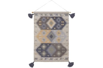 Wall Tapestry-Tassels Blue Grey 24X36