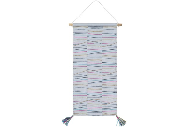 Wall Tapestry-Hand Emboidered Blue 18X36 - 360