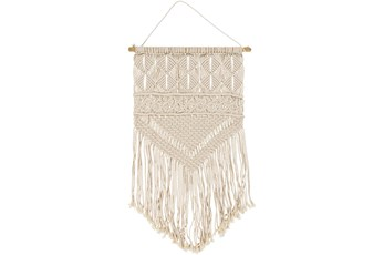 Wall Tapestry-Marcrame Fringe Cream 15X31