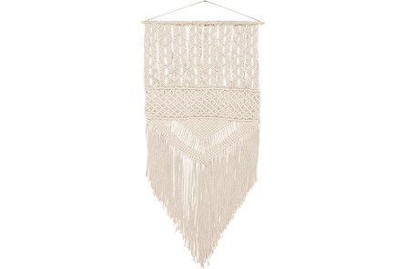 Wall Tapestry-Marcrame Fringe Cream Large 29X60 - Main