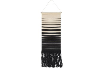 Wall Tapestry-Black And Cream Stripe 18X38