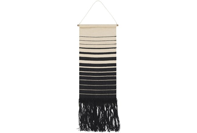 Wall Tapestry-Black And Cream Stripe 18X38 - 360