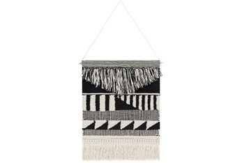 Wall Tapestry-Hand Woven Black Cream 17X22