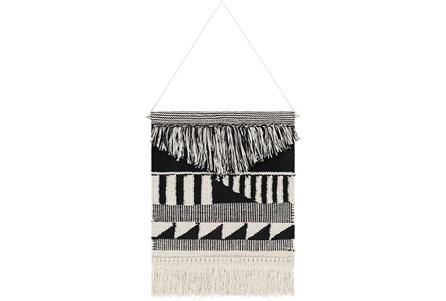 Wall Tapestry-Hand Woven Black Cream 17X22 - Main
