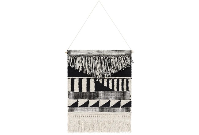 Wall Tapestry-Hand Woven Black Cream 17X22 - 360
