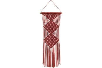 Wall Tapestry-Macrame Red 40X14