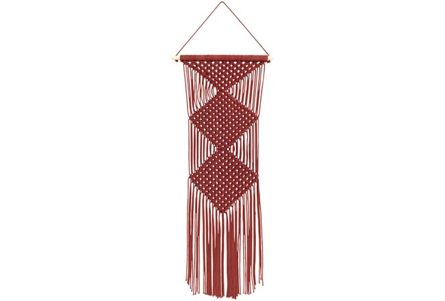 Wall Tapestry-Macrame Red 40X14 - 360