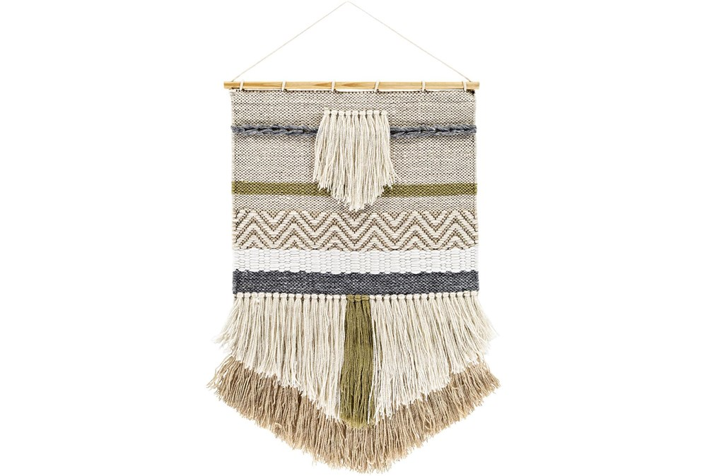 Wall Tapestry-Woven Fringe Khaki Black 20X32
