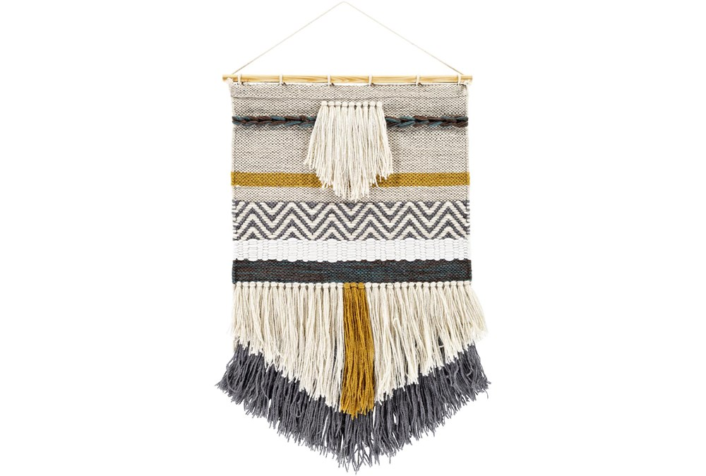 Wall Tapestry-Woven Fringe Charcoal Beige 20X32