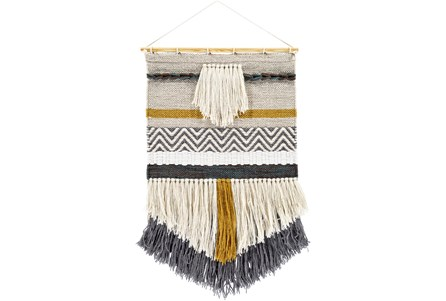 Wall Tapestry-Woven Fringe Charcoal Beige 20X32 - Main