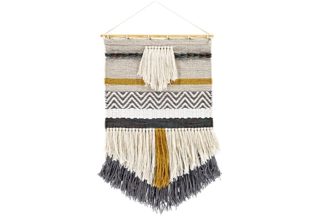 Wall Tapestry-Woven Fringe Charcoal Beige 20X32 - 360