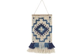 Wall Tapestry-Hand Knotted Blue Cream 17X23