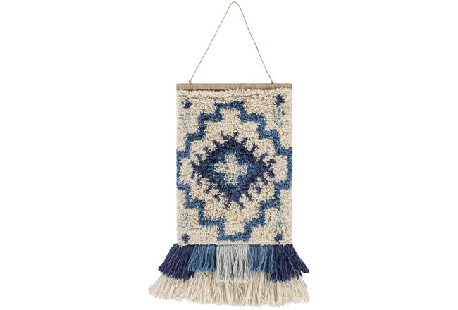 Wall Tapestry-Hand Knotted Blue Cream 17X23 - 360