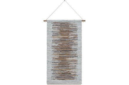 Wall Tapestry-Woven Leather Brown Grey 22X44 - Main