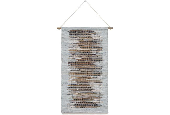 Wall Tapestry-Woven Leather Brown Grey 22X44 - 360
