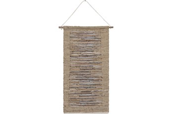 Wall Tapestry-Woven Leather Khaki Grey 22X44