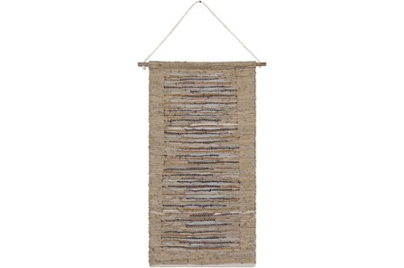 Wall Tapestry-Woven Leather Khaki Grey 22X44 - Main
