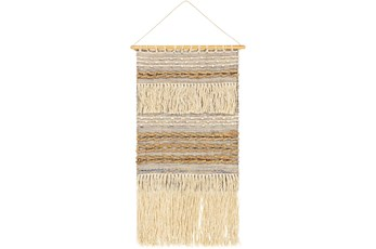 Wall Tapestry-Woven Jute Tan Blue 20X36