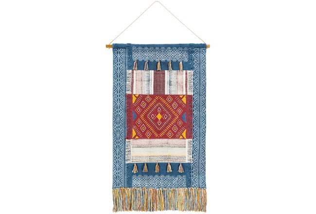 Wall Tapestry-Block Printed Blue Red 29X48 - 360
