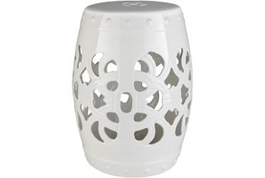 Outdoor White Ceramic Garden Stool