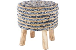 Jute Blue And Natural Stripe Stool