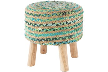 Jute Green And Natural Stripe Stool
