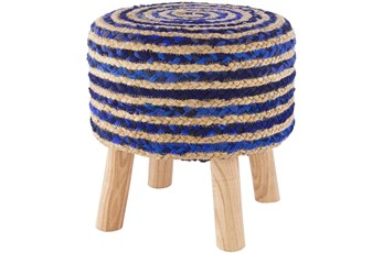 Jute Dark Blue And Natural Stripe Stool