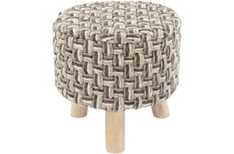 Grey And Natural Woven Stool