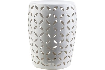 Outdoor White Ceramic Garden Stool