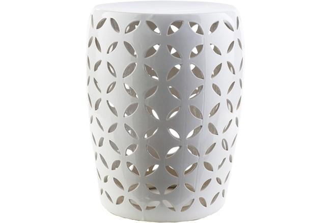 Outdoor White Ceramic Garden Stool - 360