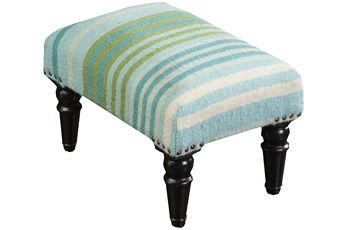Aqua And Blue Stripe Stool