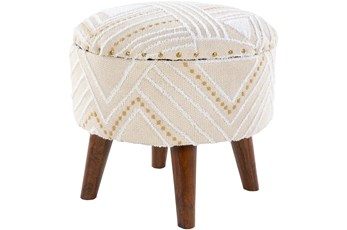 White And Camel Storage Stool