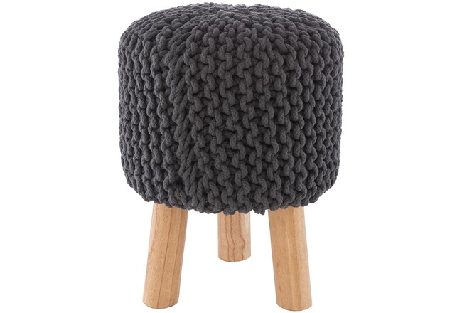 Grey Knitted Stool - 360