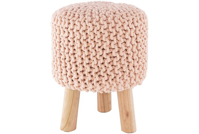 Pink Knitted Stool - 360
