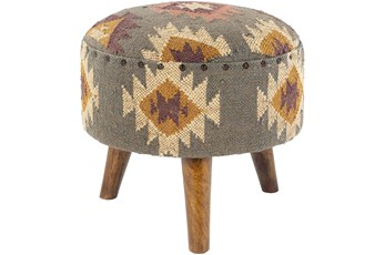Hand Woven Sage Aztec Stool