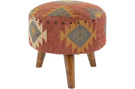 Hand Woven Red Aztec Stool - Main