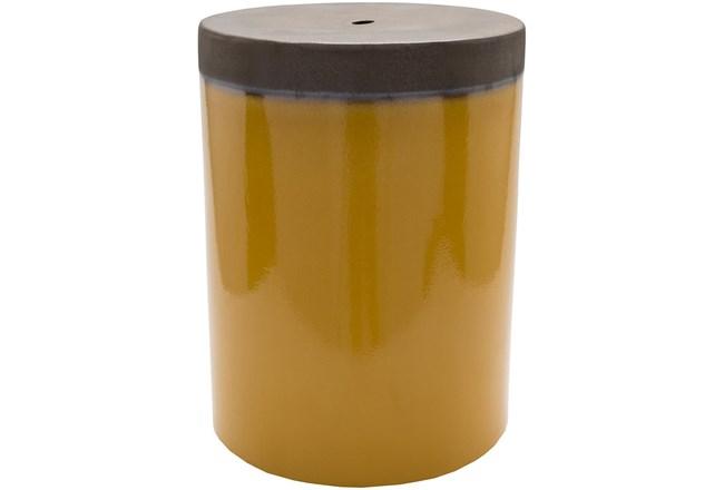 Outdoor Mustard And Brown Garden Stool - 360