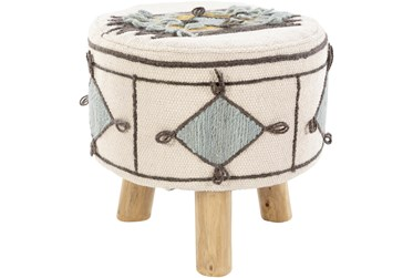 12 Inch White Blue + Mustard Southwest Accent Stool