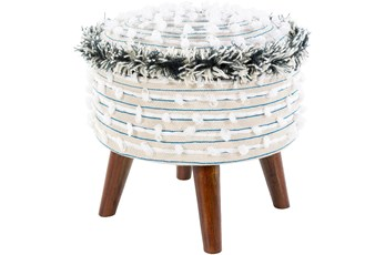 Blue And White Fringed Storage Stool