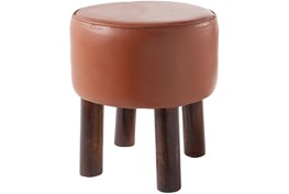 Teracotta Leather Stool