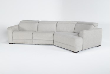 """Chanel Grey 3 Piece 138"""" Sectional With Right Arm Facing Cuddle Chaise & Power Headrest"""