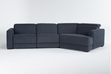 """Chanel Denim 3 Piece 138"""" Sectional With Right Arm Facing Cuddle Chaise & Power Headrest"""